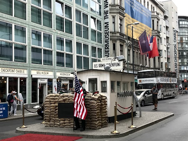 Popular tourist site Checkpoint Charlie in Berlin