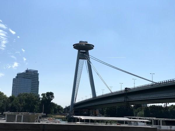Popular tourist site UFO Observation Deck in Bratislava