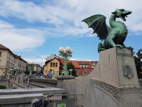 Popular tourist site Dragon Bridge in Ljubljana