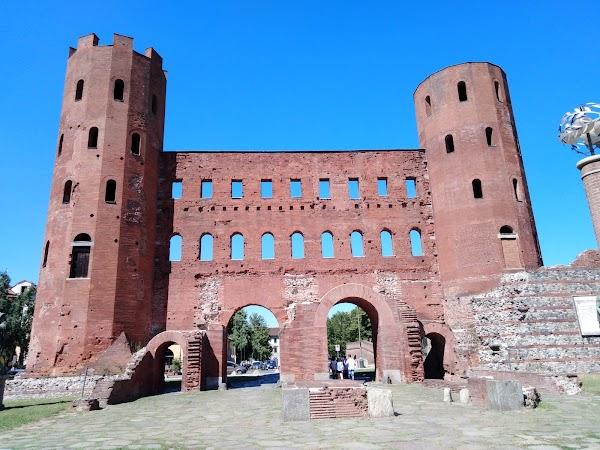 Popular tourist site Palatine Towers in Turin