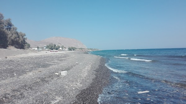 Popular tourist site Perissa Black Sand Beach in Santorini