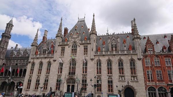 Popular tourist site Burg Square in Bruges