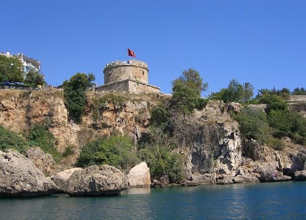Popular tourist site Hıdırlık Tower in Antalya