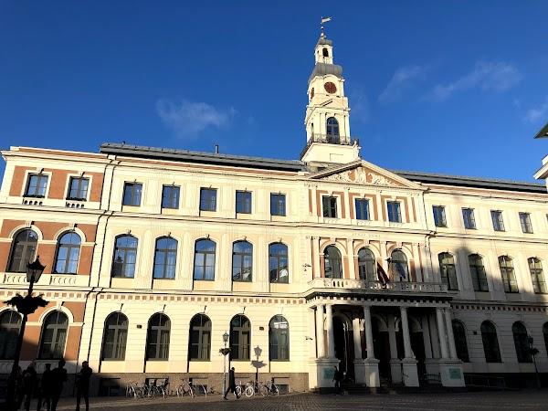 Popular tourist site Riga Town Hall Square in Riga