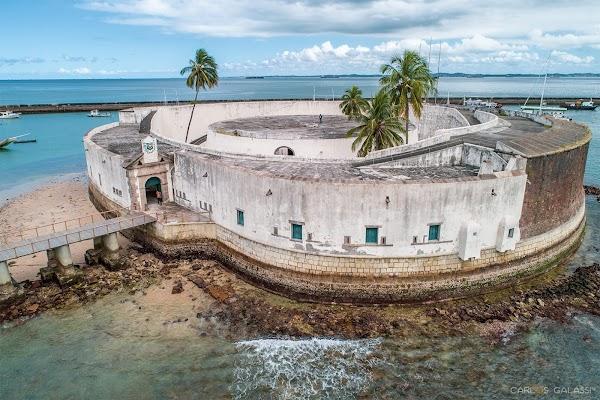 Popular tourist site São Marcelo Fort in Salvador