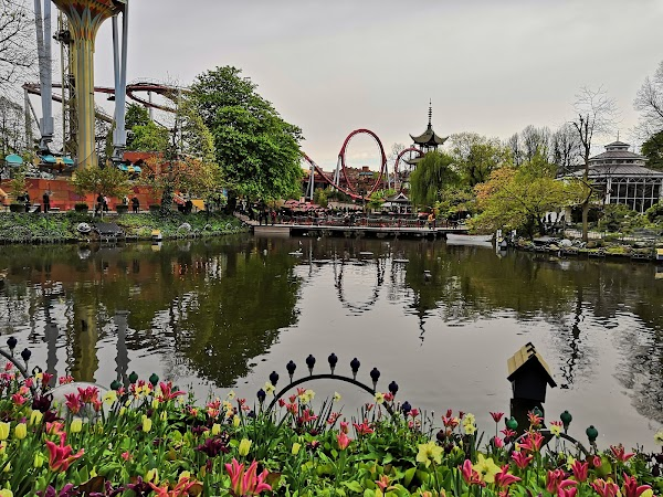 Popular tourist site Tivoli Gardens in Copenhagen