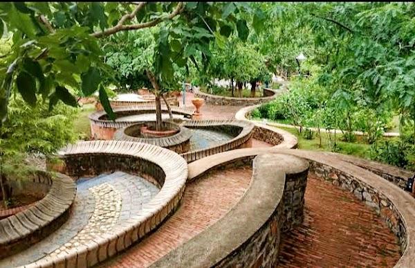 Popular tourist site The Garden of Five Senses in New Delhi