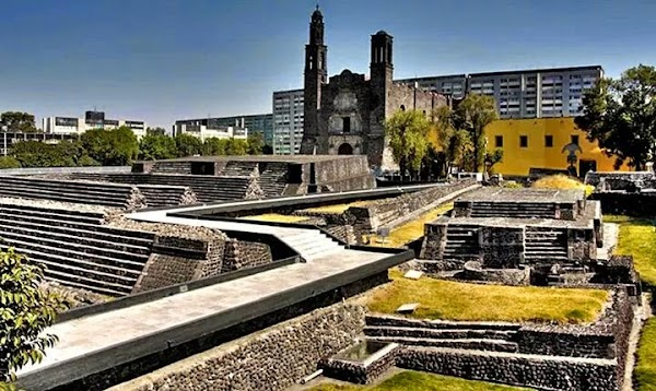 Popular tourist site Square of the Three Cultures in Mexico City
