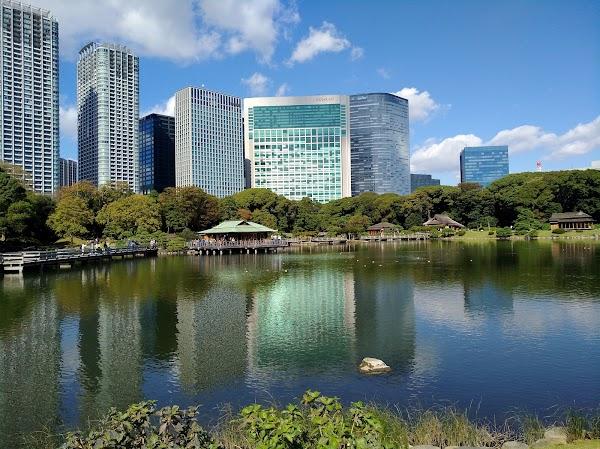 Popular tourist site Hamarikyu Gardens in Tokyo