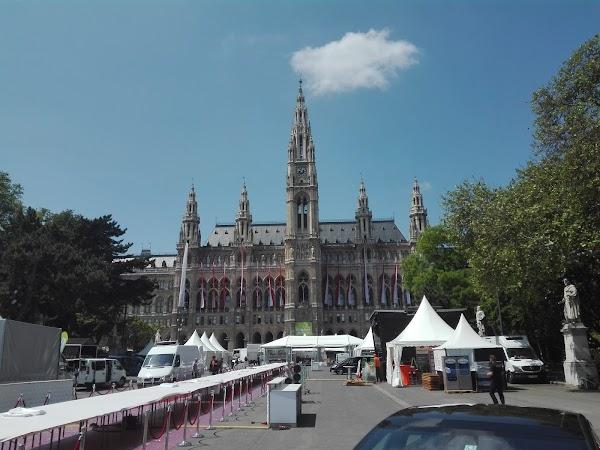 Popular tourist site Rathaus in Vienna