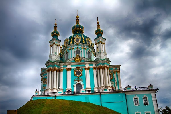 Popular tourist site St. Andrew's Church in Kyiv