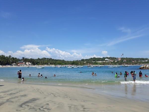 Popular tourist site Playa Principal in Puerto Escondido
