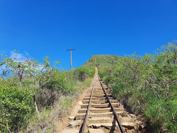 Popular tourist site Koko Crater Railway Trailhead in Honolulu