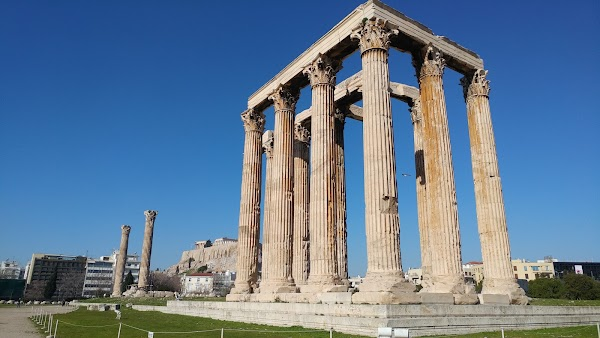 Popular tourist site Temple of Olympian Zeus in Athens