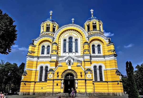Popular tourist site St. Volodymyr's Cathedral in Kyiv