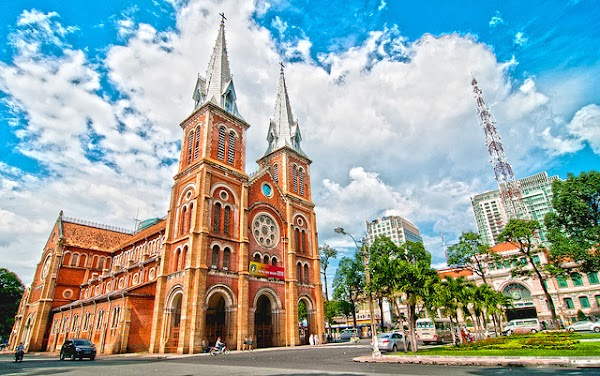 Popular tourist site Notre Dame Cathedral of Saigon in Ho Chi Minh City