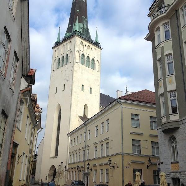 Popular tourist site St Olaf's church in Tallinn