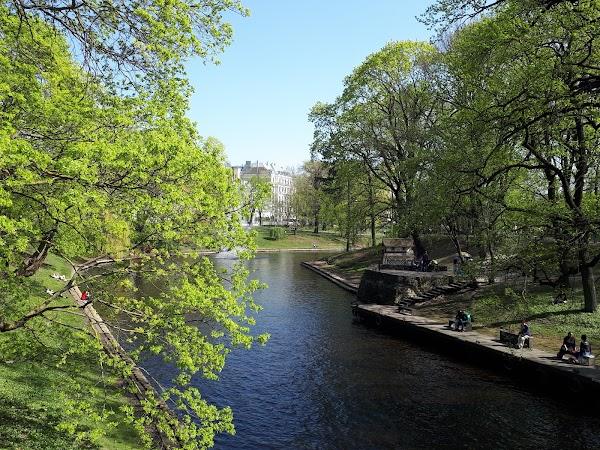 Popular tourist site Bastejkalna park in Riga
