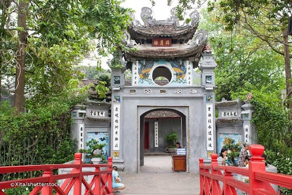 Popular tourist site Temple of the Jade Mountain in Hanoi
