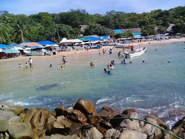 Popular tourist site Playa Puerto Angelito y Manzanillo in Puerto Escondido