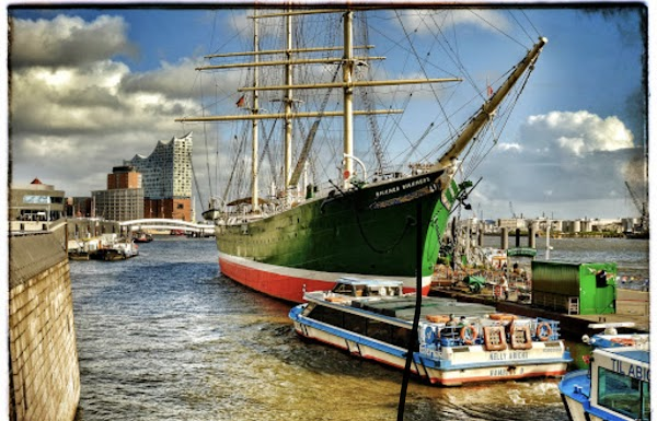 Popular tourist site Rickmer Rickmers in Hamburg