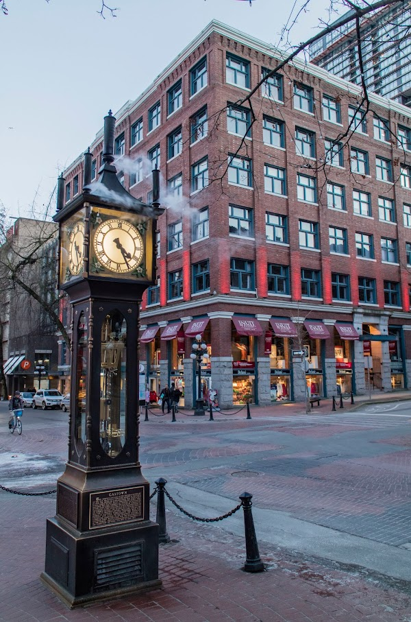 Popular tourist site Gastown Steam Clock in Vancouver