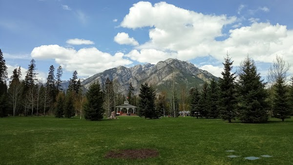 Popular tourist site Central Park in Banff