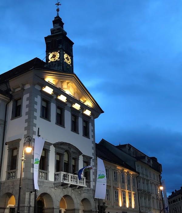 Popular tourist site Town Hall in Ljubljana