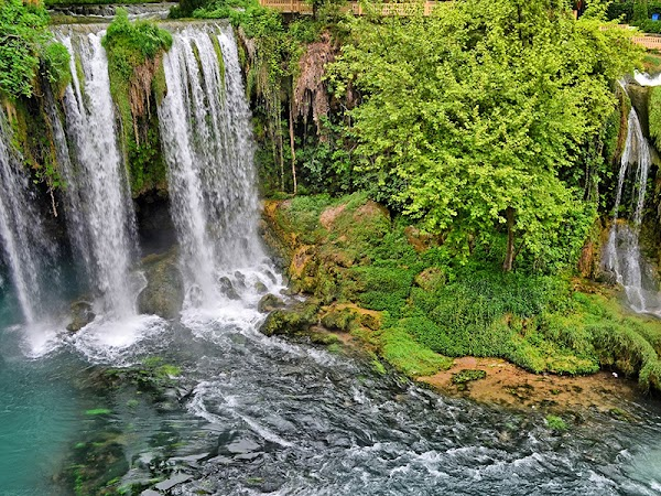 Popular tourist site Duden Waterfalls in Antalya