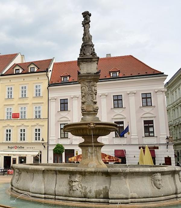 Popular tourist site Maximilian's fountain in Bratislava