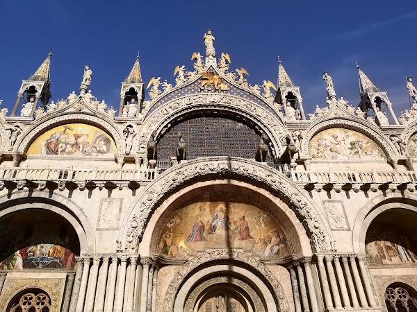 Popular tourist site Saint Mark's Basilica in Venice