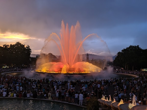 Popular tourist site Magic fountain of Montjuic in Barcelona
