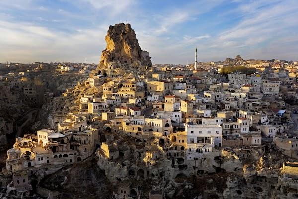 Popular tourist site Ortahisar Castle in Cappadocia