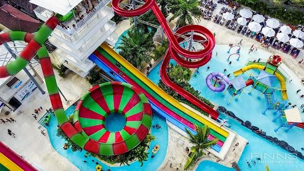 Popular tourist site Splash Waterpark Bali in Canggu