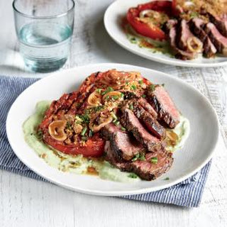 Grilled Steak and Tomatoes with Tofu Ranch Dressing.