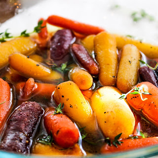 Whisky Glazed Baby Carrots with Thyme.