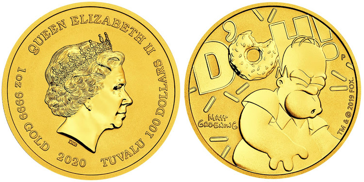 The front and back of a Homer Simpson gold coin.