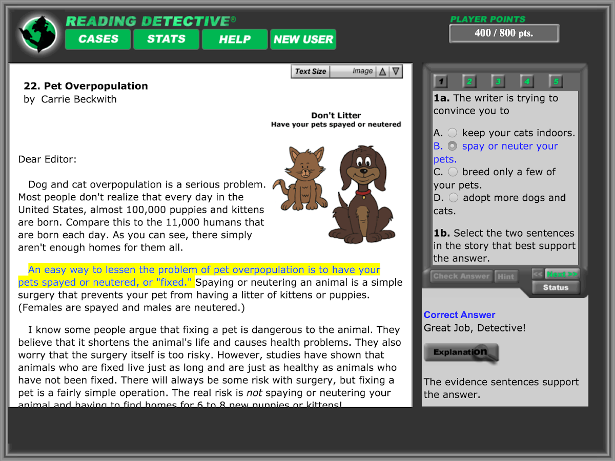 Reading Detective® A1- screenshot