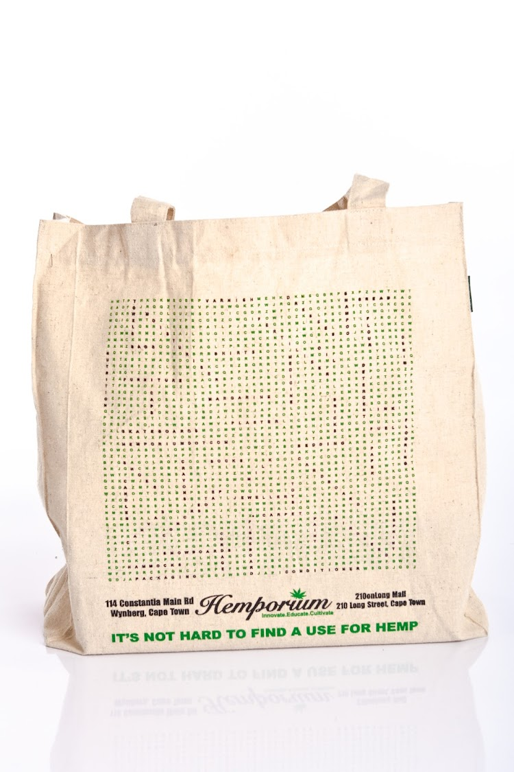 Eco-friendly Hemporium shopper.
