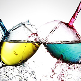 glasses and colourd ater by Peter Salmon - Artistic Objects Glass ( colour, water, splash, glasses, glass,  )
