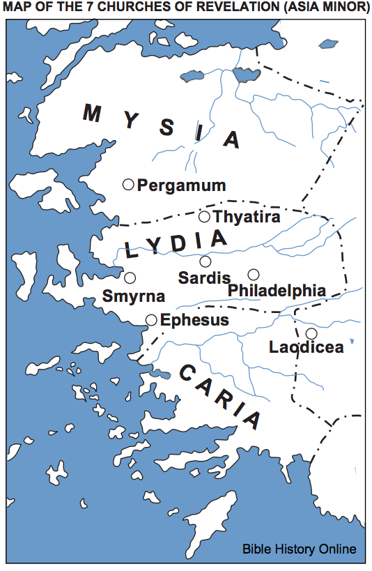 Map of the Seven Churches of Revelation (Asia Minor)