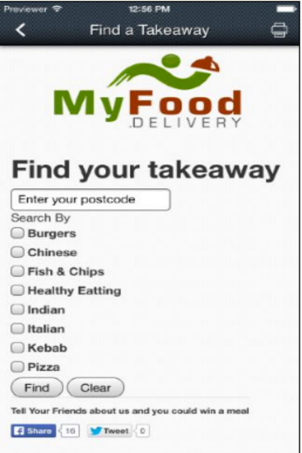 Order from your local takeaway- screenshot