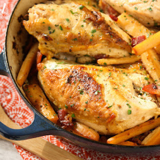 Chicken Breasts Braised with Hard Cider, Bacon, and Parsnips