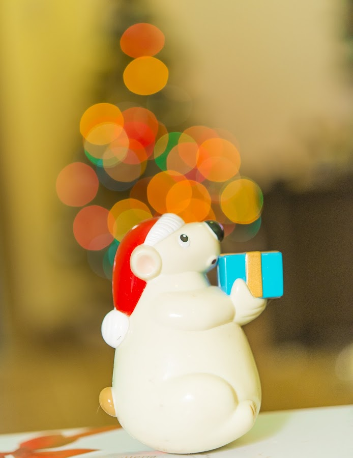 Christmas Present by Andreea Alexe - Artistic Objects Toys ( #bear #bokeh #box #christmas hat #color #gift #indoor #lights, watercolour, painting, photographs, skills, photoshop, program, pen, technical, , mood, mood factory, holiday, christmas, hanukkah, red, green, lights, artifical, lighting, colors, Kwanzaa, blue, black, celebrate, tis the season, festive )