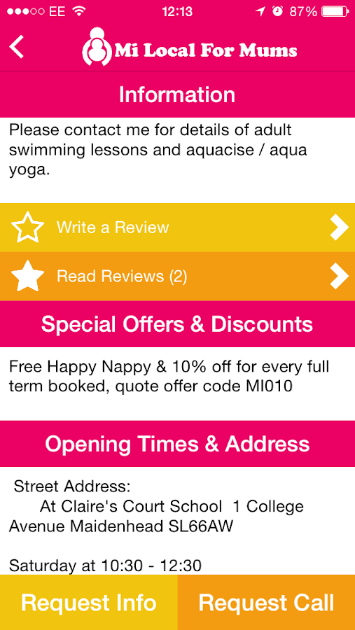 Mi Local for Mums Activity App- screenshot