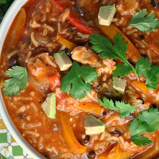 One Pot Chicken and Rice Fajita Soup.