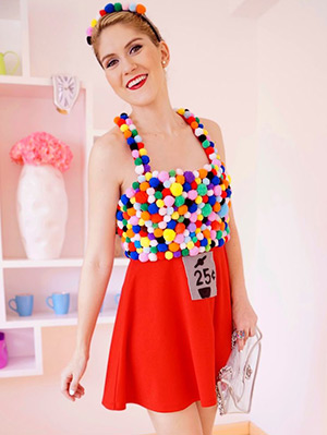 Girl in Gumball Machine DIY costume