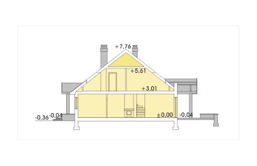 Jagódka wersja B z pojedynczym garażem - Przekrój