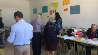 Un colegio electoral de Albox esta mañana.