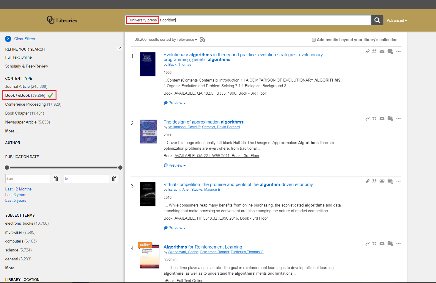 Library OneSearch results with search terms